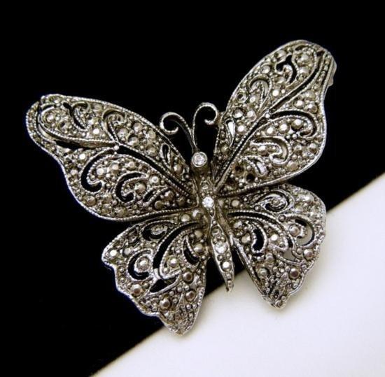 Vintage Ornate Butterfly Brooch