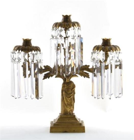 GT0424120069 Classical figural gilt-brass three-light g