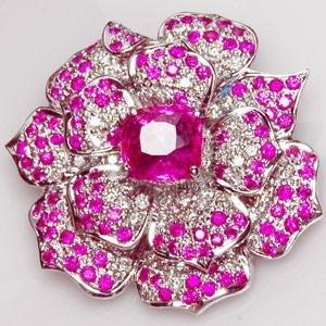 An 18K White Gold Pink Sapphire and Diamond Pendant/ B