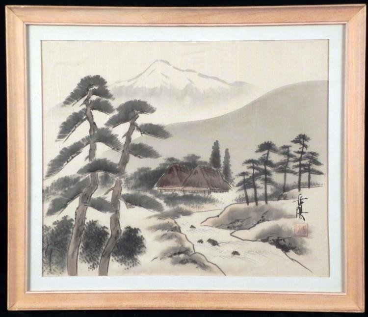 Chinese Silk Art Painting Houses by a Mountain -Framed