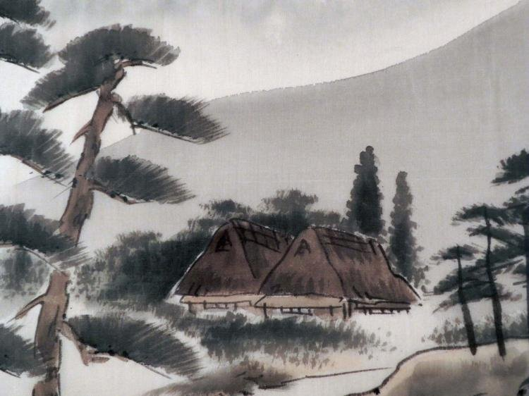 Chinese Silk Art Painting Houses by a Mountain -Framed - 2