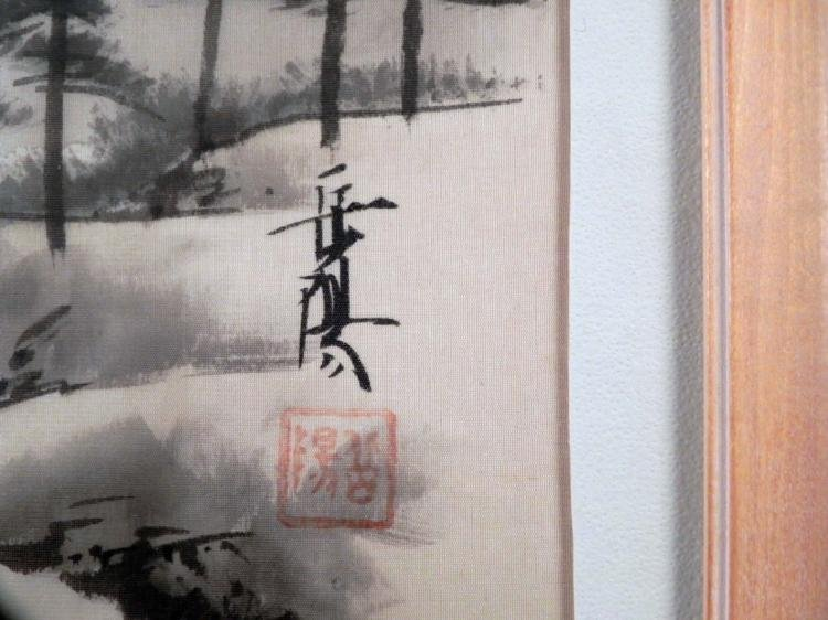 Chinese Silk Art Painting Houses by a Mountain -Framed - 3