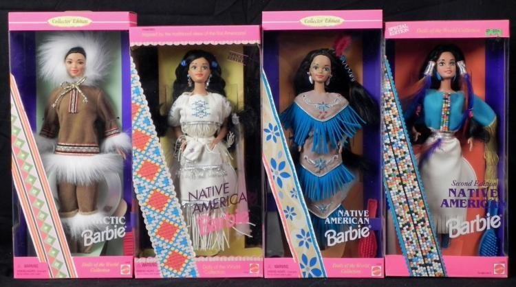 4 Barbies Arctive, Native American, Indian MIB