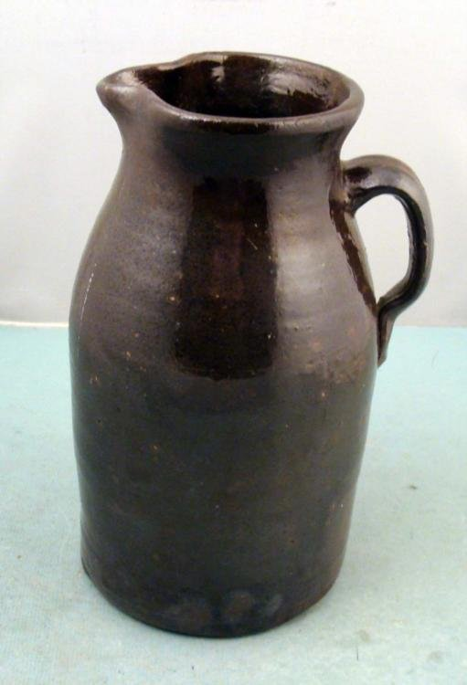 Antique Rustic Stoneware Water Pitcher 11 In. Tall