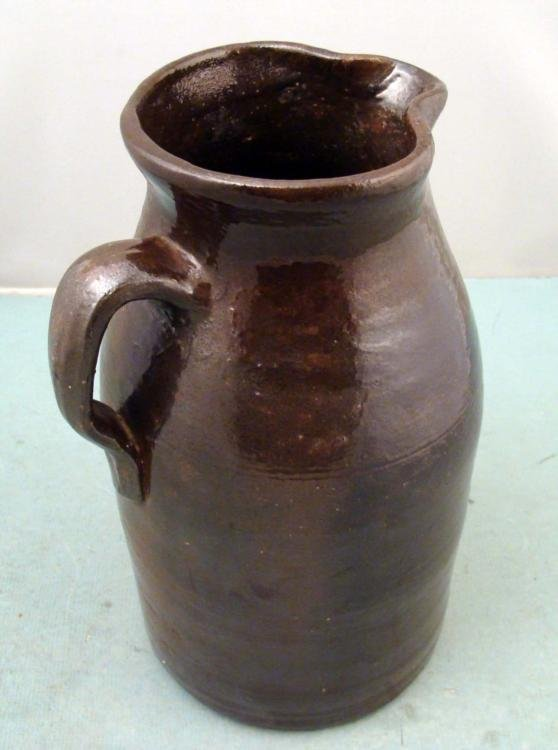 Antique Rustic Stoneware Water Pitcher 11 In. Tall - 2