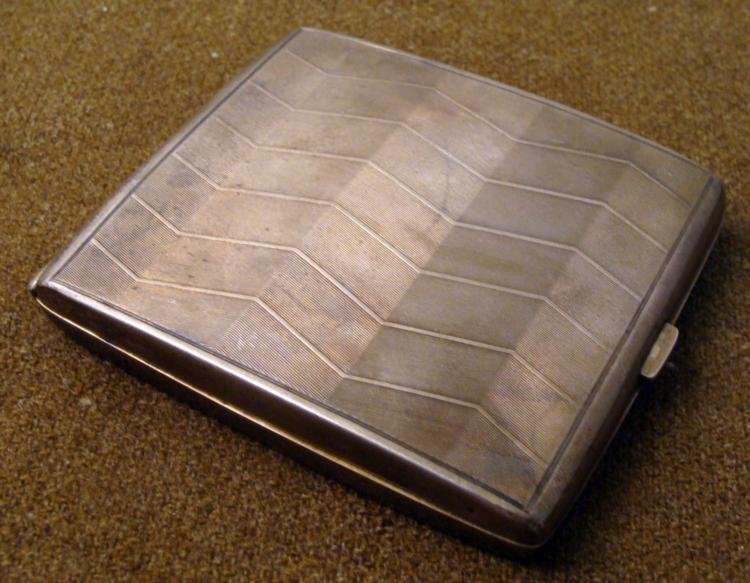 NAZI OFFICER'S ART DECO SILVER CIGARETTE CASE ENGRAVED