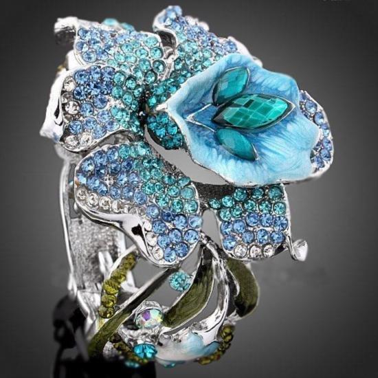 GT0522120052 Lovely Enamel & Crystal Floral Design Bang