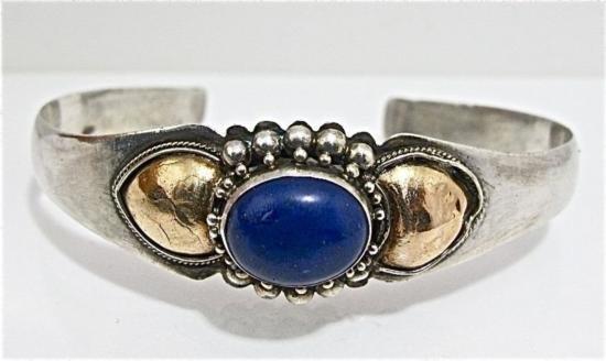 ET0503120178 Sterling Silver & Lapis Cuff Bracelet