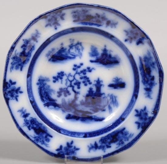 ET0503120172 Flow Blue Ironstone Soup Plate. Twelve sid