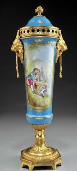 A French Sevres-Style Gilt Bronze-Mounted Lidded Vase
