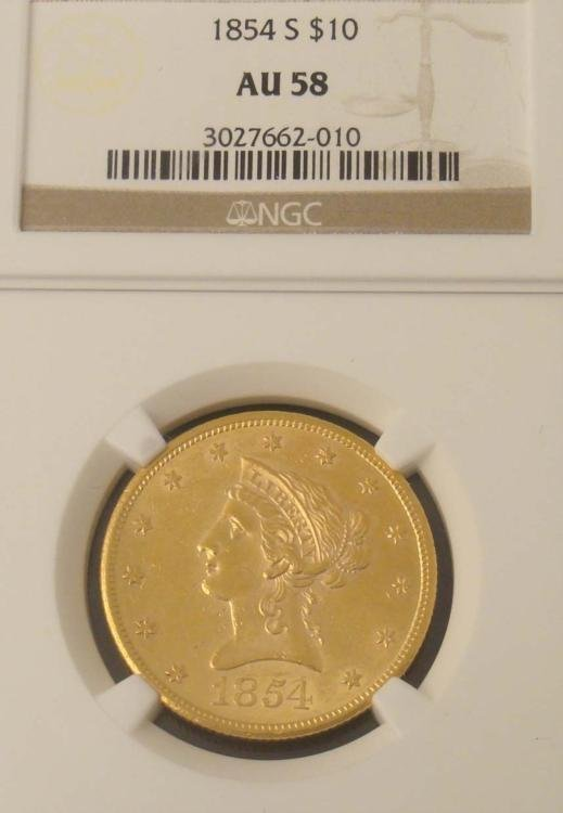 1854-S Gold $10 Coin NGC AU 58