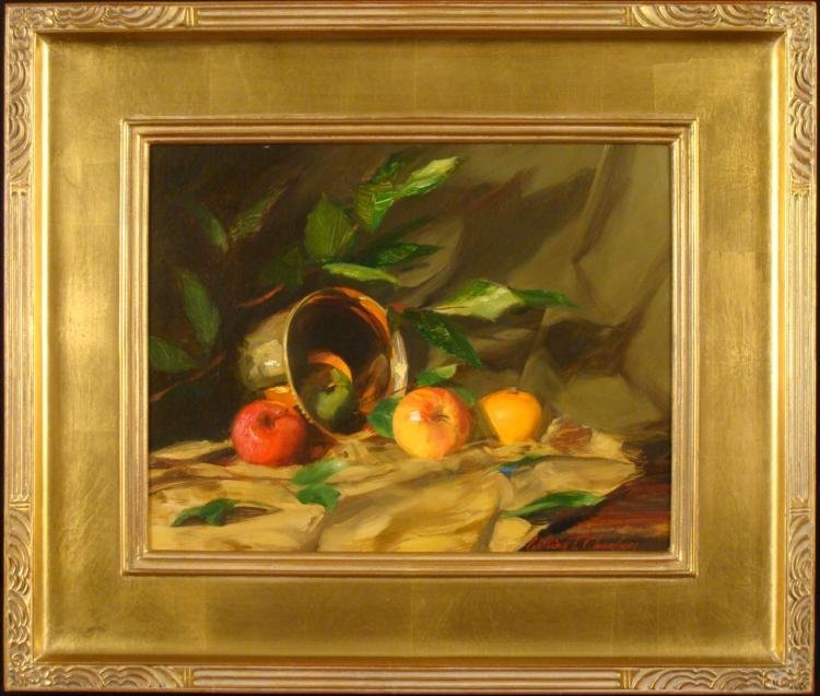 William Chambers Original Painting Copper Pot w/ Fruit