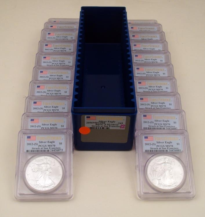 2012-S Silver Eagle Set 20 Coins PCGS MS70 In Box