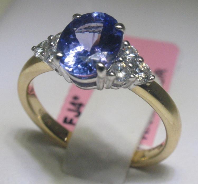 1.52 Carat Tanzanite and .29 Carat Diamonds 14K YG Ring
