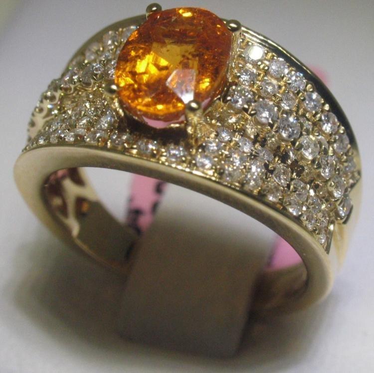 Garnet and 90 Diamonds 18K Yellow Gold Ring H. Emperor