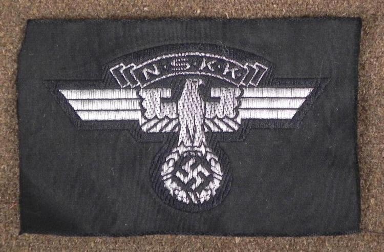 ORIGINAL NAZI NSKK/MOTORCYCLE TROOPS UNIFORM INSIGNIA