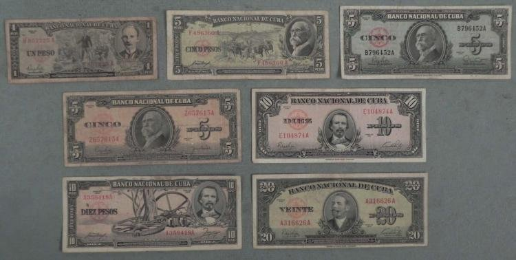 7 Different Early Cuban Pesos Paper Currency