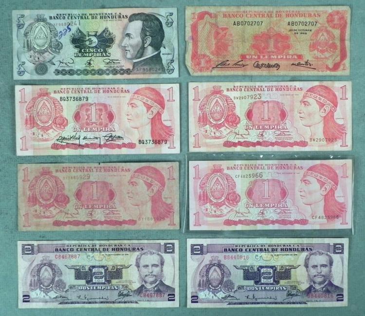 8 Honduras Paper Currency Notes Lempiras