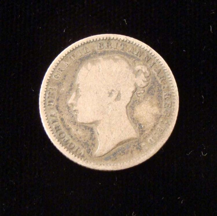 1869 Silver Six Pence Great Britain - RARE- Nice coin