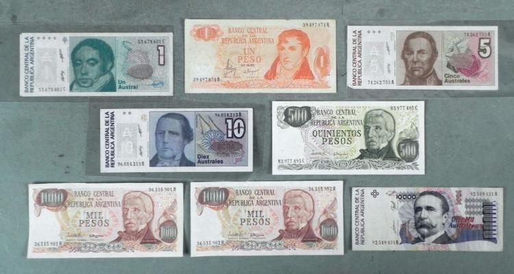 Lot 8 Pcs Argentina Paper Currency Most Unc