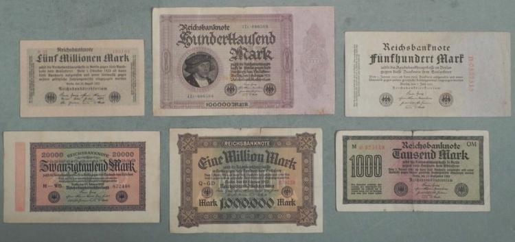 6 Different German Paper Money 1922-1923