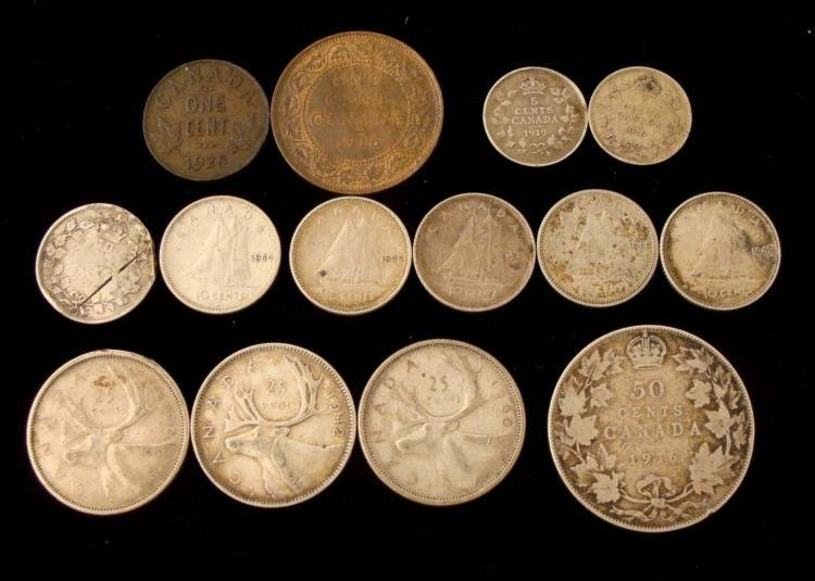 Large LOT of Old Canadian Coins 13 Silver Coins + 2 Old