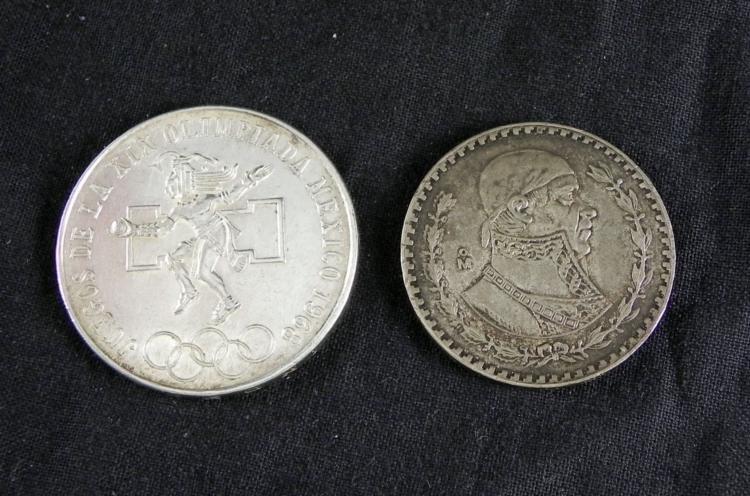 2 Mexico Silver Coins 1 Peso 1957 25 Peso 1968 Olympic