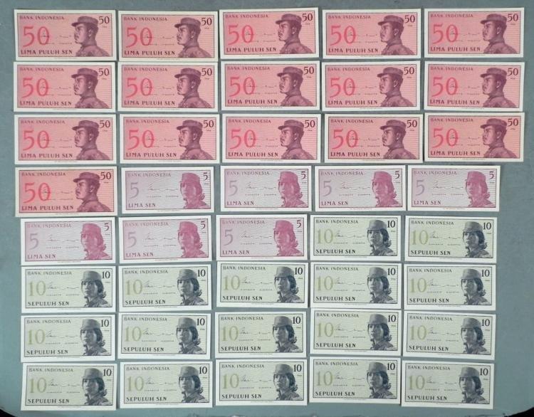 40 Pcs CU 1964 Indonesia Paper Currency Sequential Sen