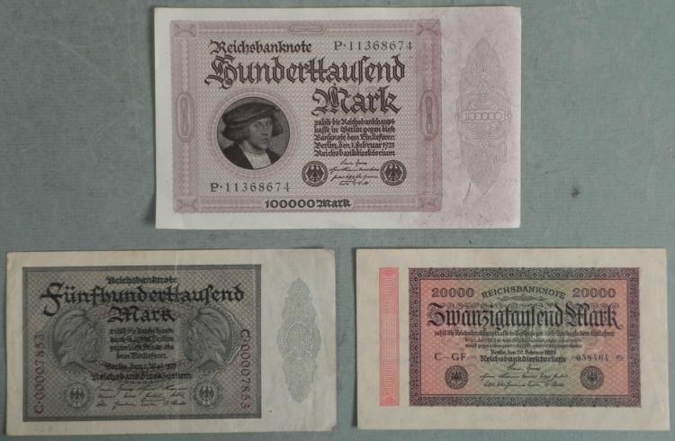 3 Very Hi-Grade German Paper Money 1923
