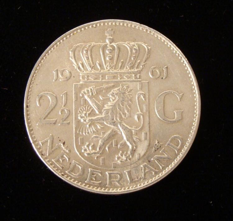 Nederlands 2 1/2 Guilder Very Hi-Grade Silver Coin