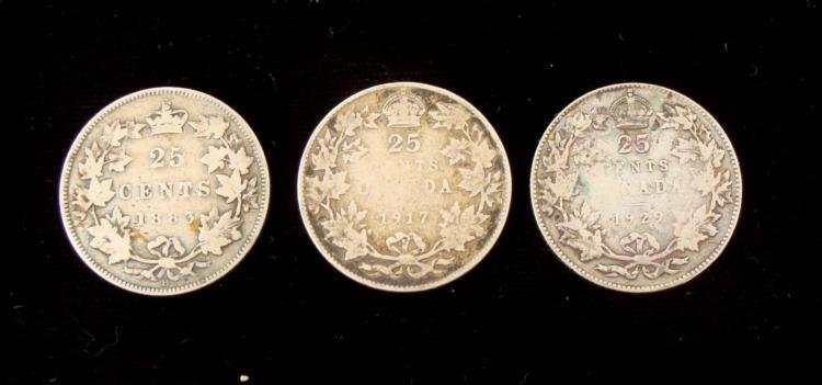 3 Early Diff Date Canada Quarters 1883, 1917, + 1929