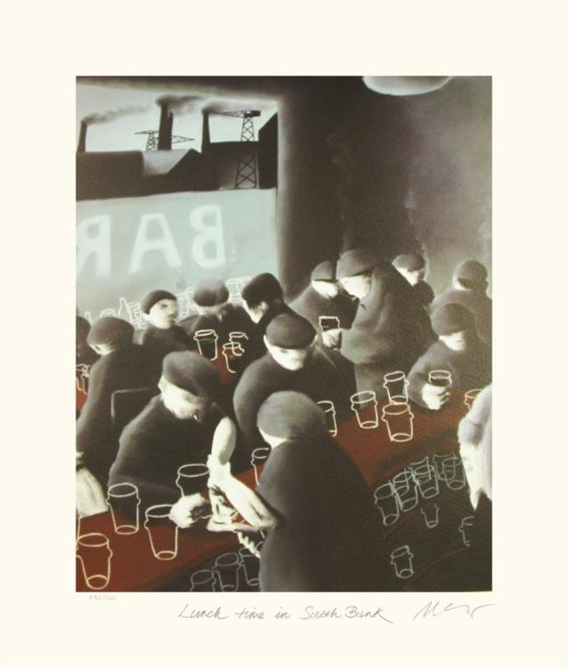 Mackenzie Thorpe 'LUNCH TIME IN SOUTH BANK' Lithograph