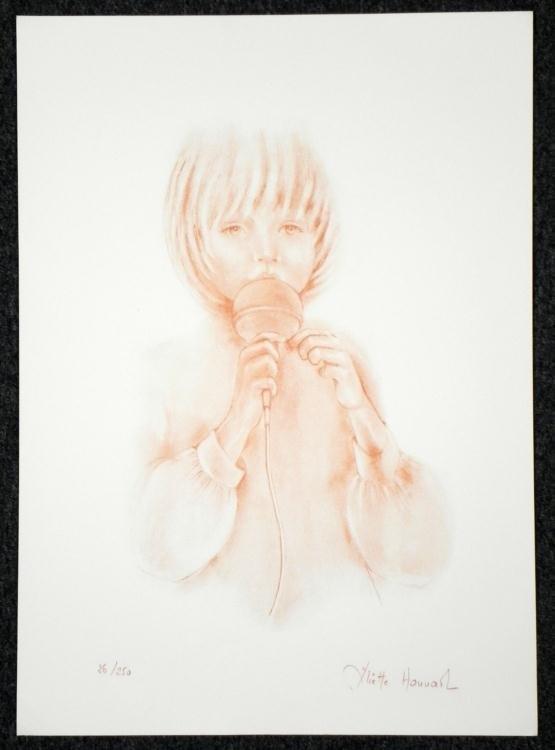 Juliette Honnart Signed Art Print Child Singer
