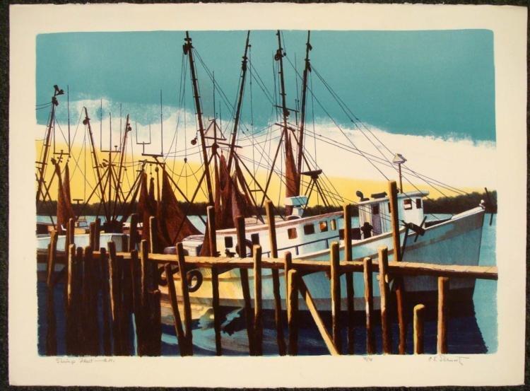 Carl E. Schwartz Signed Boat Art Print Shrimp Fleet