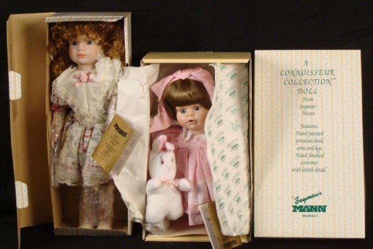2 Seymour Mann Connoisseur Porcelain Dolls MIB