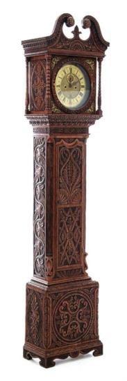 GT0424120057 Georgian carved oak tallcase clock circa 1