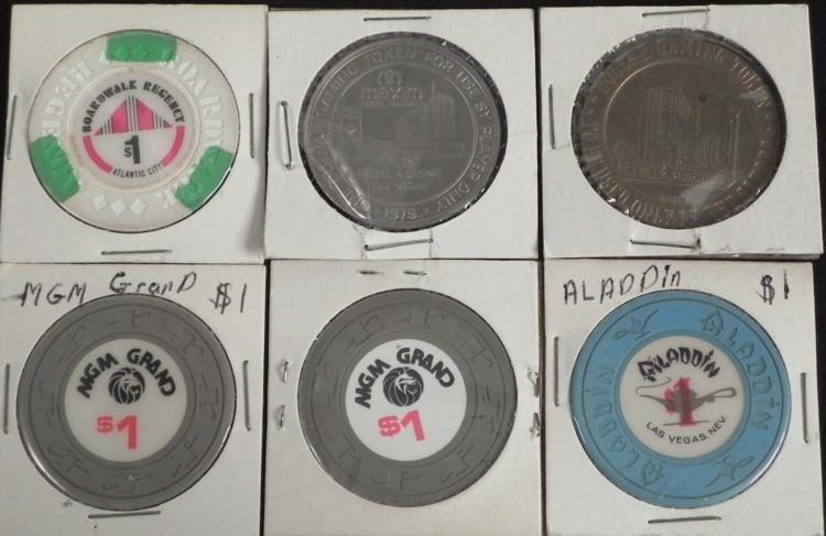 6 Old Original Gambling $1 Coins- Las Vegas + Atlantic