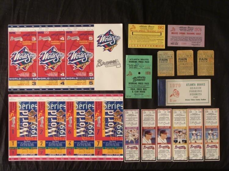 Atlanta Braves Dealer Lot- Tickets Press Passes Permits