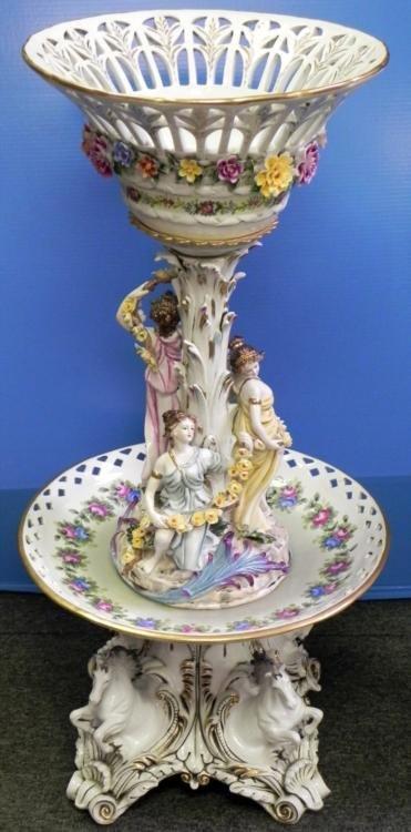 Dresden RK Large Antique Porcelain Compote Centerpiece