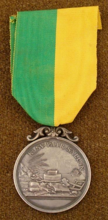 Silver Swedish Medal of Civic Merit w/Ribbon, Named