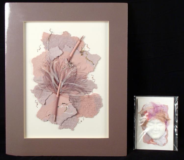 2 Original Paper Collage Art Prints Feather Mask Shauna