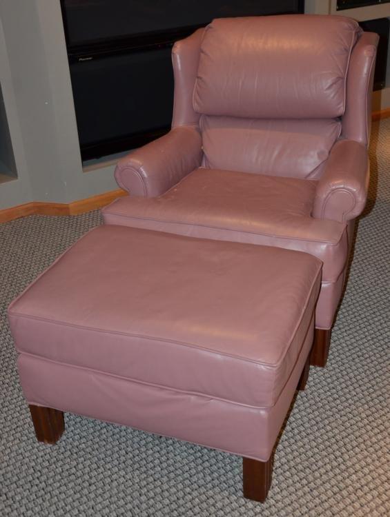 Smithe-Craft Salmon Pink Leather Chair & Ottoman