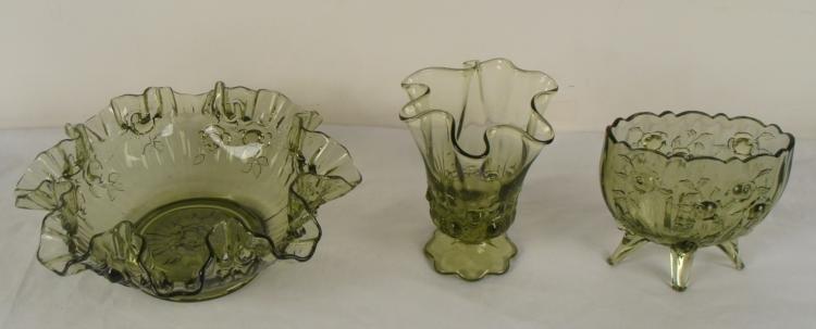 3 Fenton Colonial Green Rose Ruffle Bowl, Vases