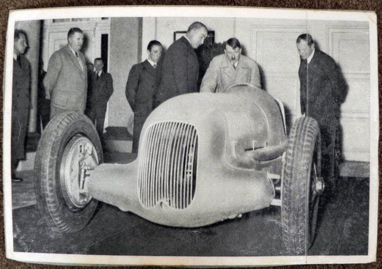 WWII NAZI PHOTO HITLER EXAMINING A MERCEDES SPORTS CAR