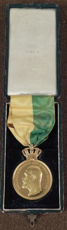 Gold Oscar II Sveriges Konung Old Swedish Medal in Box