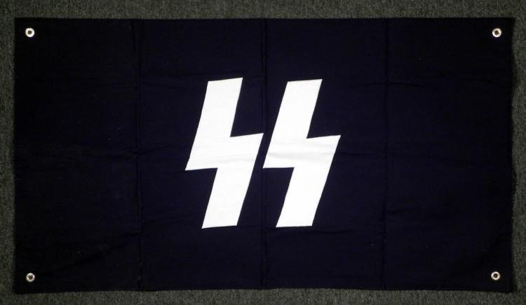 LARGE POST-WWII PERIOD SS NAZI HEAVY CANVAS BANNER