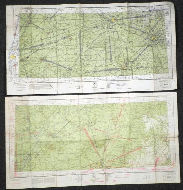 2 WWII STRATEGIC MILITARY MAPS CINCINNATI AND NASHVILLE