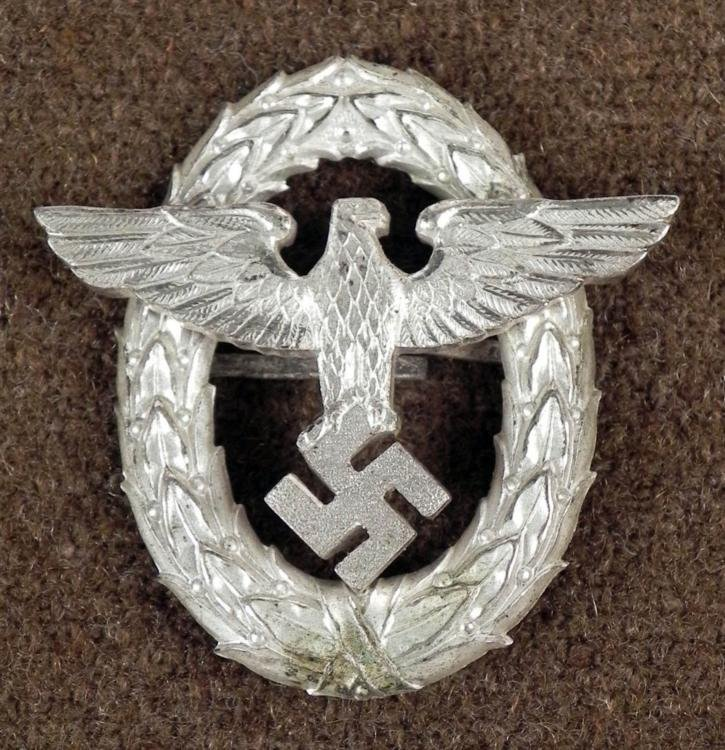 NAZI POLICE ORIG HIGH OFFICERS INSIGNIA SILVER EAGLE