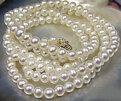 Beautiful!7-8mm White Akoya Cultured Pearl Necklace 25~
