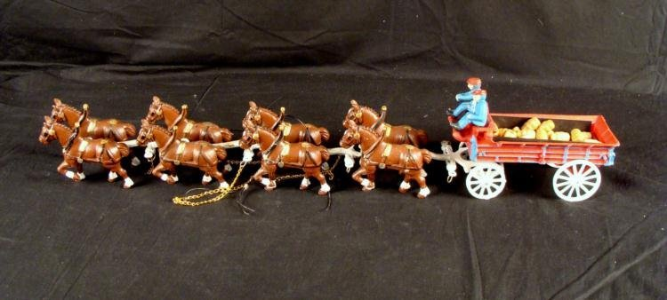 Vintage Budweiser Cast Iron Clydesdale Horse Beer Wagon